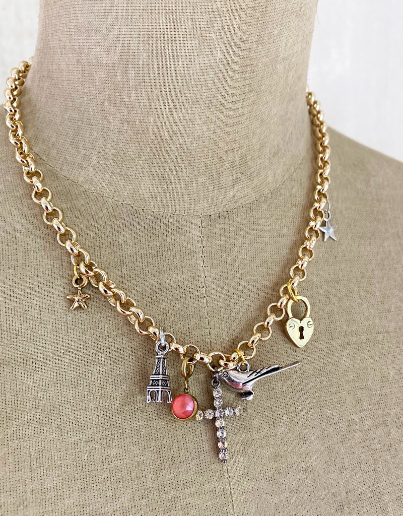 . ATHENA GOLD PLATED CHUNKY CHARM NECKLACE