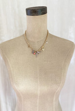 . ATHENA GOLD GILDED CHUNKY CHARM NECKLACE