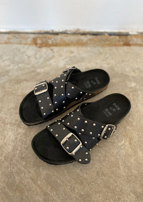 . CARA CROSS STUDDED SANDALS