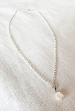 . LYRA SILVER PLATED PEARL CHARM NECKLACE