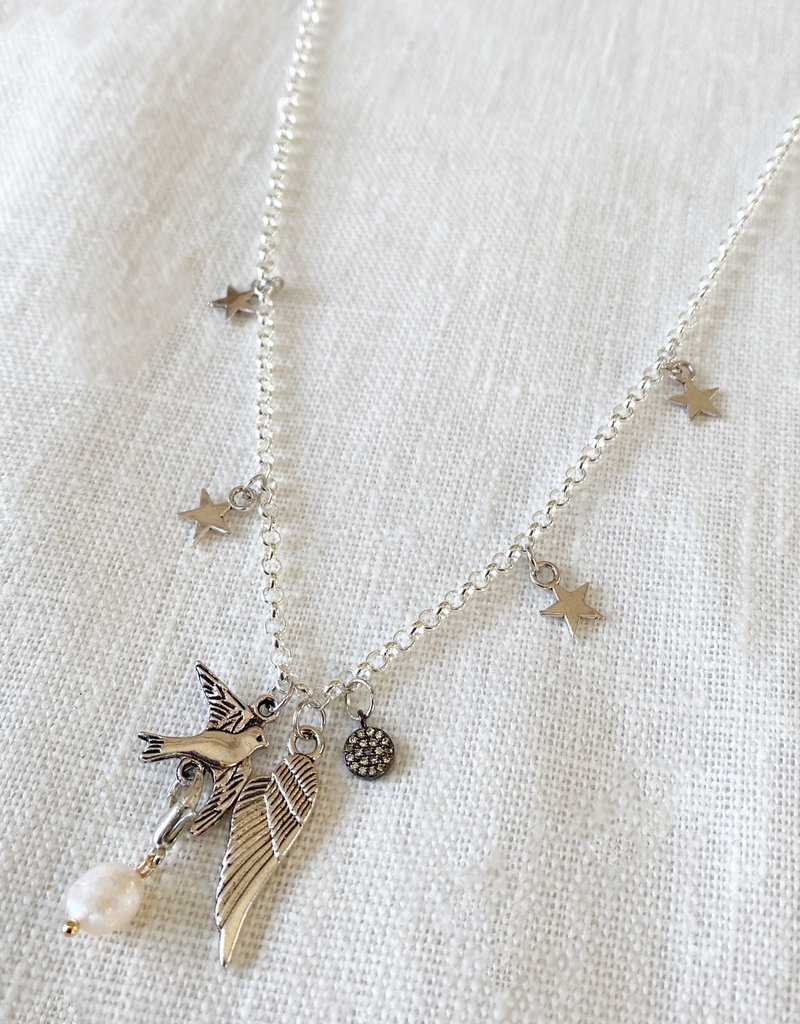 . SERENA SILVER PLATED CHARM NECKLACE