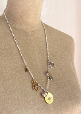 . OPHELIA SILVER PLATED CHARM NECKLACE