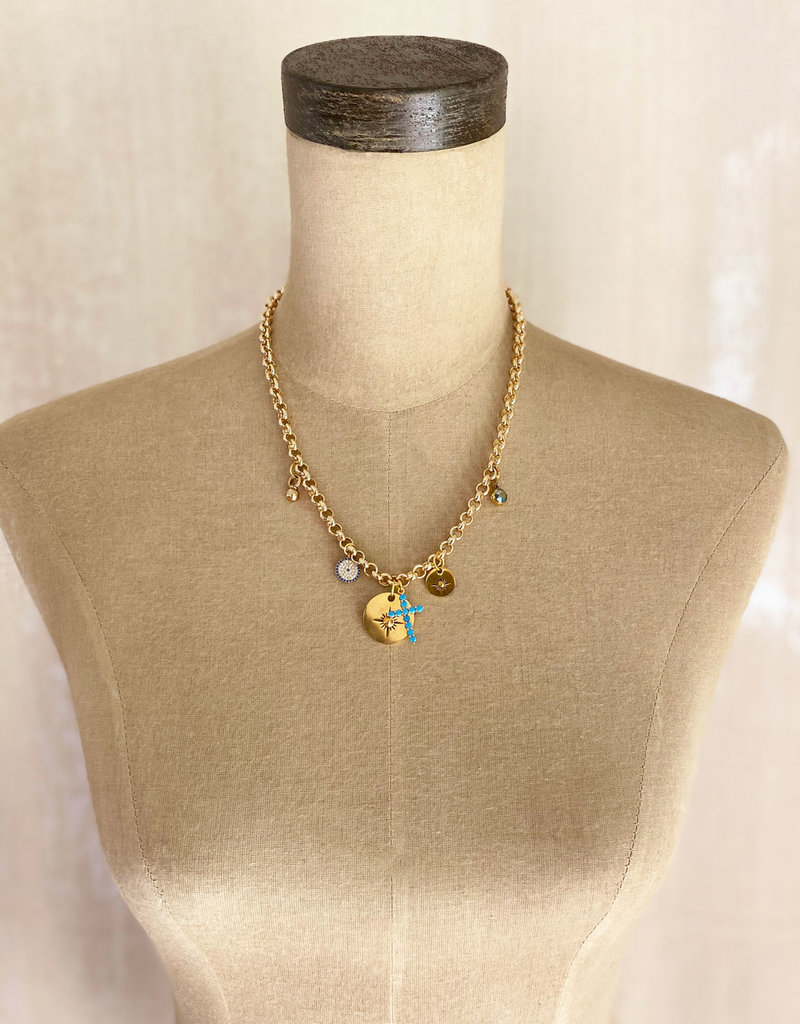 . CLEA GOLD PLATED CHARM NECKLACE