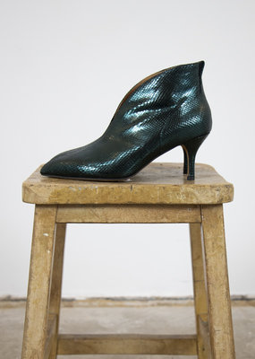 VALENTINE METALLIC LIZARD HEELED BOOTS