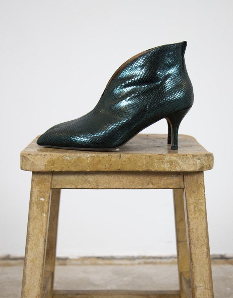VALENTINE METALLIC LIZARD HEELED BOOTS