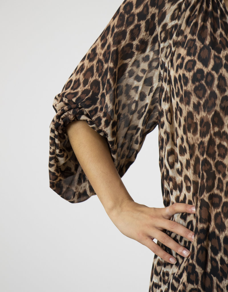 CELLO RECYCLED LEOPARD PRINT BLOUSE