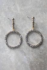 . TANIA CRYSTAL DROP-HOOP EARRINGS