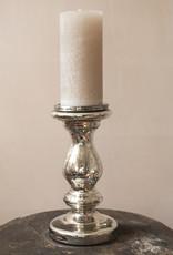 . ANTIQUIA SILVERED GLASS CANDLESTICK