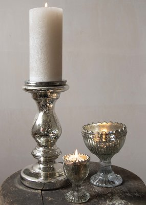 . ANTIQUIA SILVERED GLASS CANDLESTICK