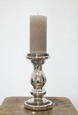 Busby & Fox ANTIQUIA SILVERED GLASS CANDLESTICK
