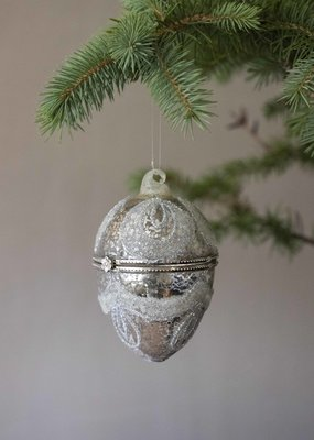 . ANTIQUED GLASS EGG DECORATION