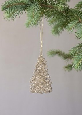 . GLITTERY WOODEN TREE DECORATION