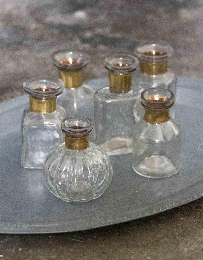 . SET OF SIX MINI GLASS VASES