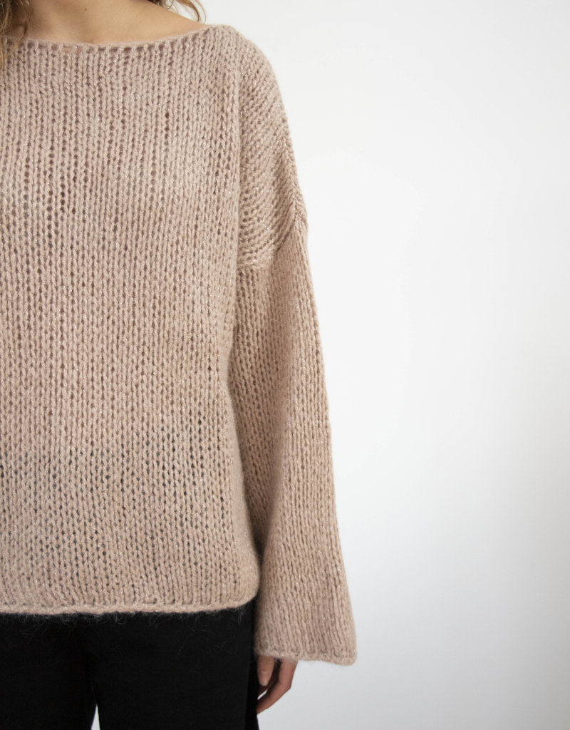 . DEMPSEY SPARKLE CHUNKY KNIT ROUND-NECK SWEATER