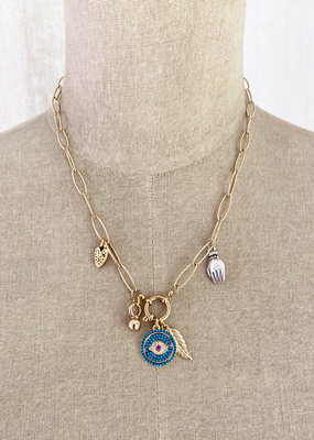 . RHEA GOLD GILDED TRACE CHAIN CHARM NECKLACE
