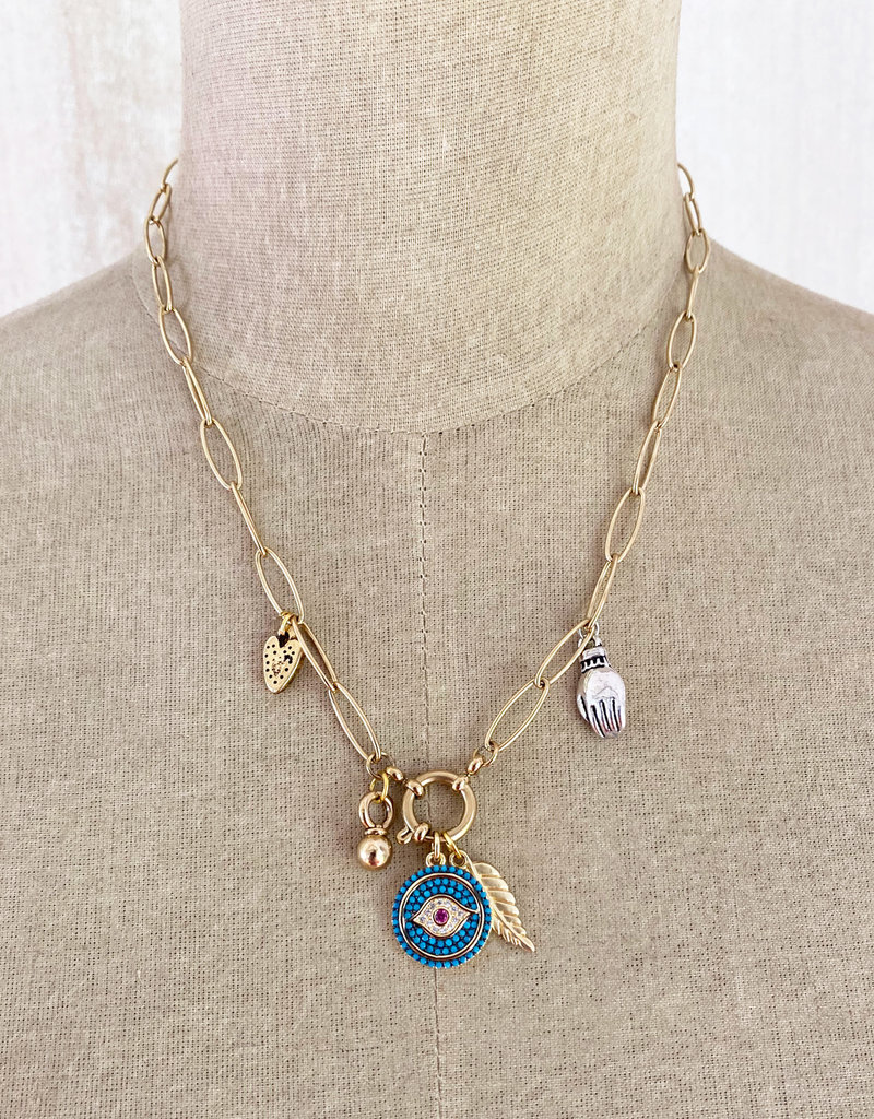 Emma Vowles RHEA GOLD GILDED TRACE CHAIN CHARM NECKLACE