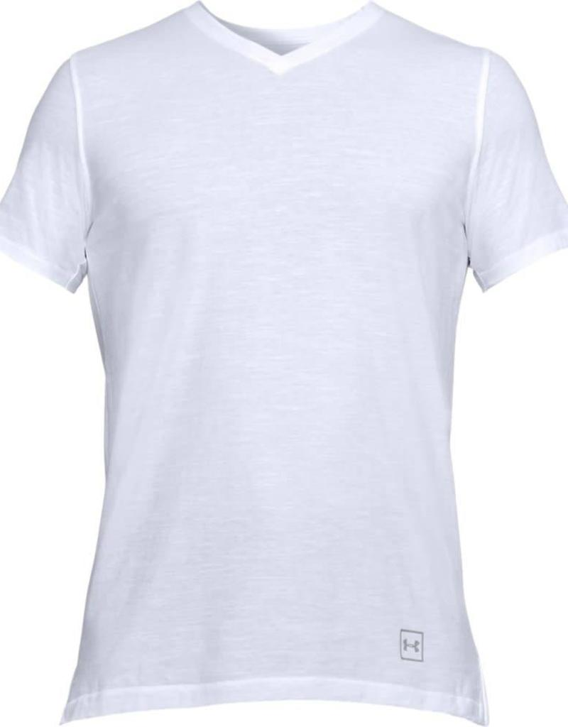 UNDERARMOUR Sportstyle Core V Neck Tee-White