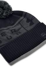Under Armour UA Big Logo Pom Beanie - Black-Pitch Gray-Pitch Gray - OSFA