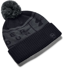 Under Armour UA Big Logo Pom Beanie - Black-Pitch Gray-Pitch Gray - OSFA