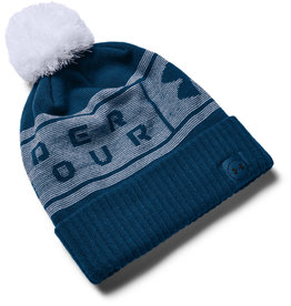 Under Armour UA Big Logo Pom Beanie - GRAPHITE BLUE-White-GRAPHITE BLUE - OSFA