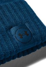 Under Armour UA Big Logo Pom Beanie - GRAPHITE BLUE-White-GRAPHITE BLUE - OSFA
