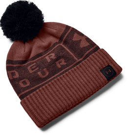Under Armour UA Big Logo Pom Beanie - Cinna Red-Black-Black - OSFA