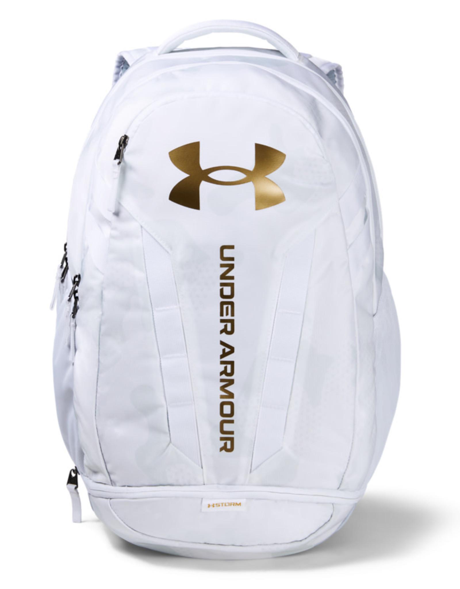 Under Armour UA Hustle 5.0 Backpack - White-Mod Gray-Metallic Gold Luster - OSFA