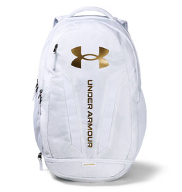 Under Armour UA Hustle 5.0 Backpack - White-Mod Gray-Metallic Gold Luster - OSFA