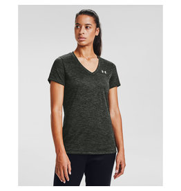Under Armour Womens's UA Tech V-Neck - Baroque Green--Halo Gray