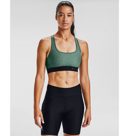 Under Armour UA Armr Mid Crssbk Hthr Bra - Saxon Green Light Heather-Black-Saxon Green