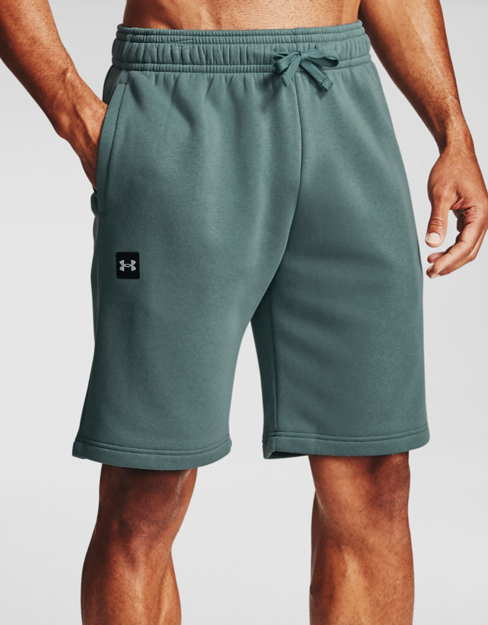 Under Armour UA Rival Fleece Shorts - Lichen Blue--Onyx White