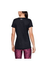 Under Armour Womens's UA Tech V-Neck - Black--Metallic Silver