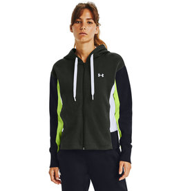 Under Armour UA Rival Flce EMB FZ Hoodie - Baroque Green-LIME FIZZ-Silver