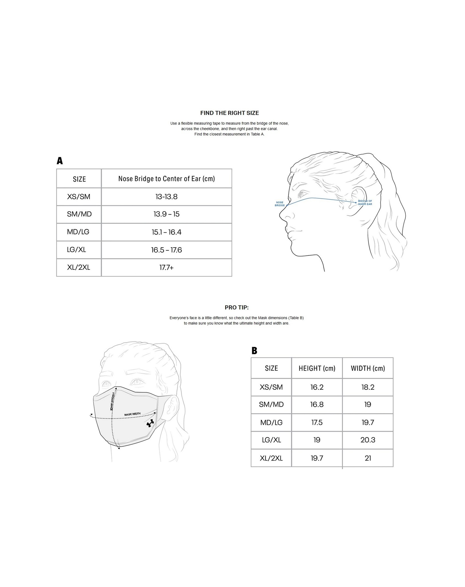 Sports Mask Sizing