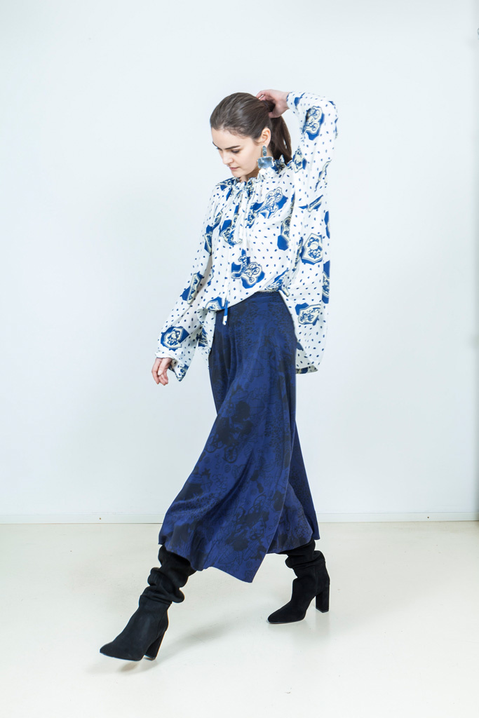 TUNNEL BLOUSE - WHITE/BLUE-6