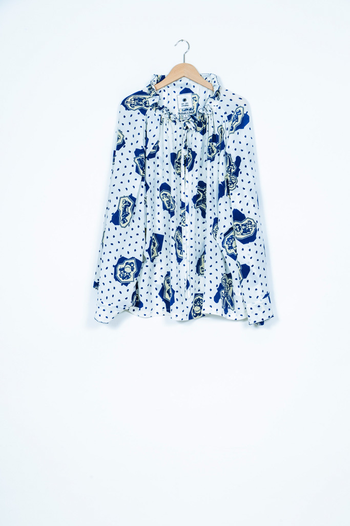 TUNNEL BLOUSE - WHITE/BLUE-3