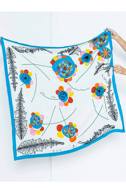 SILK SCARF - FLOWER/TURQUOISE