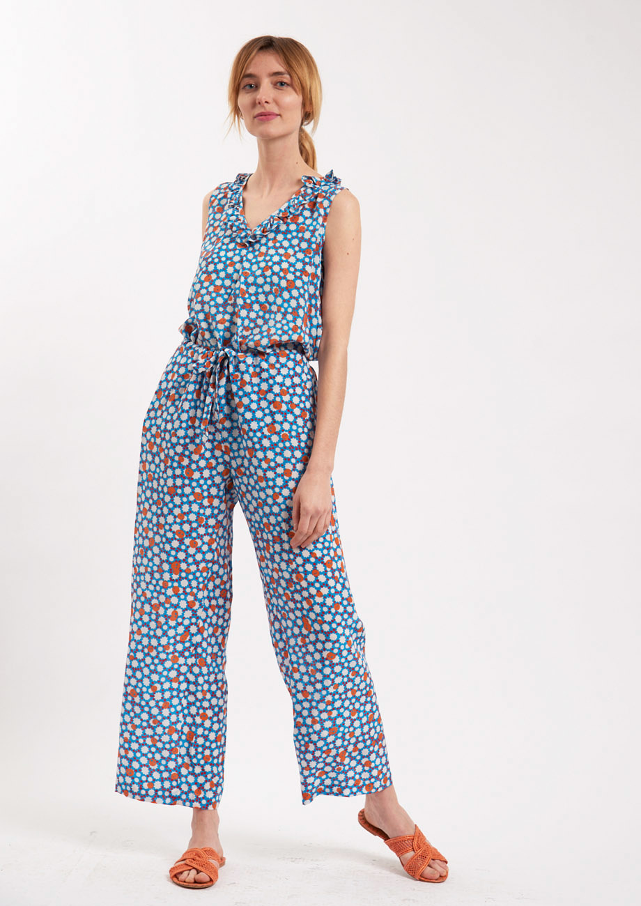 PYJAMA SILK PANTS - MIDBLUE-3