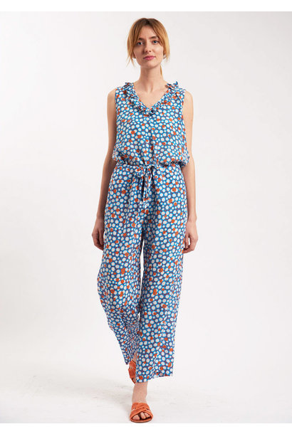 PYJAMA SILK PANTS - MIDBLUE
