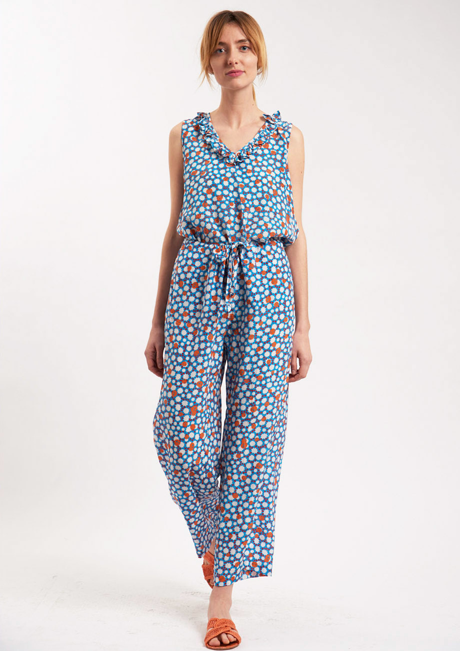 PYJAMA SILK PANTS - MIDBLUE-1