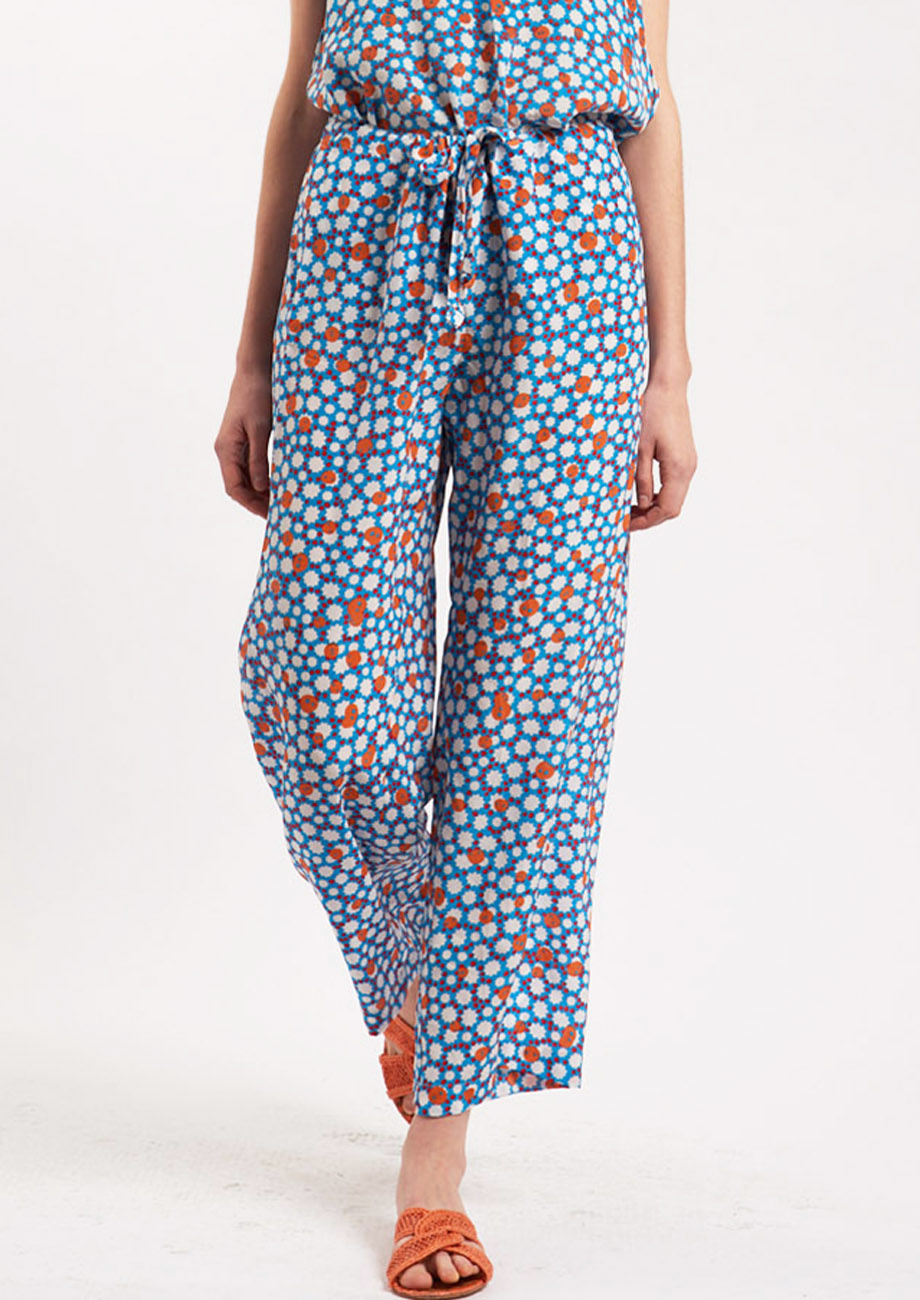 PYJAMA SILK PANTS - MIDBLUE-2