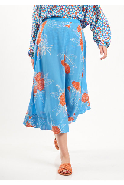 SILK BASIC SKIRT - HAWAII BLUE