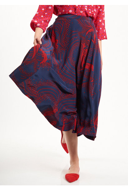 BASIC SILK SKIRT - NAVY/RED