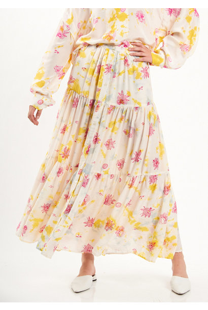 MIDI WIDE SILK SKIRT - HAWAII YELLOW