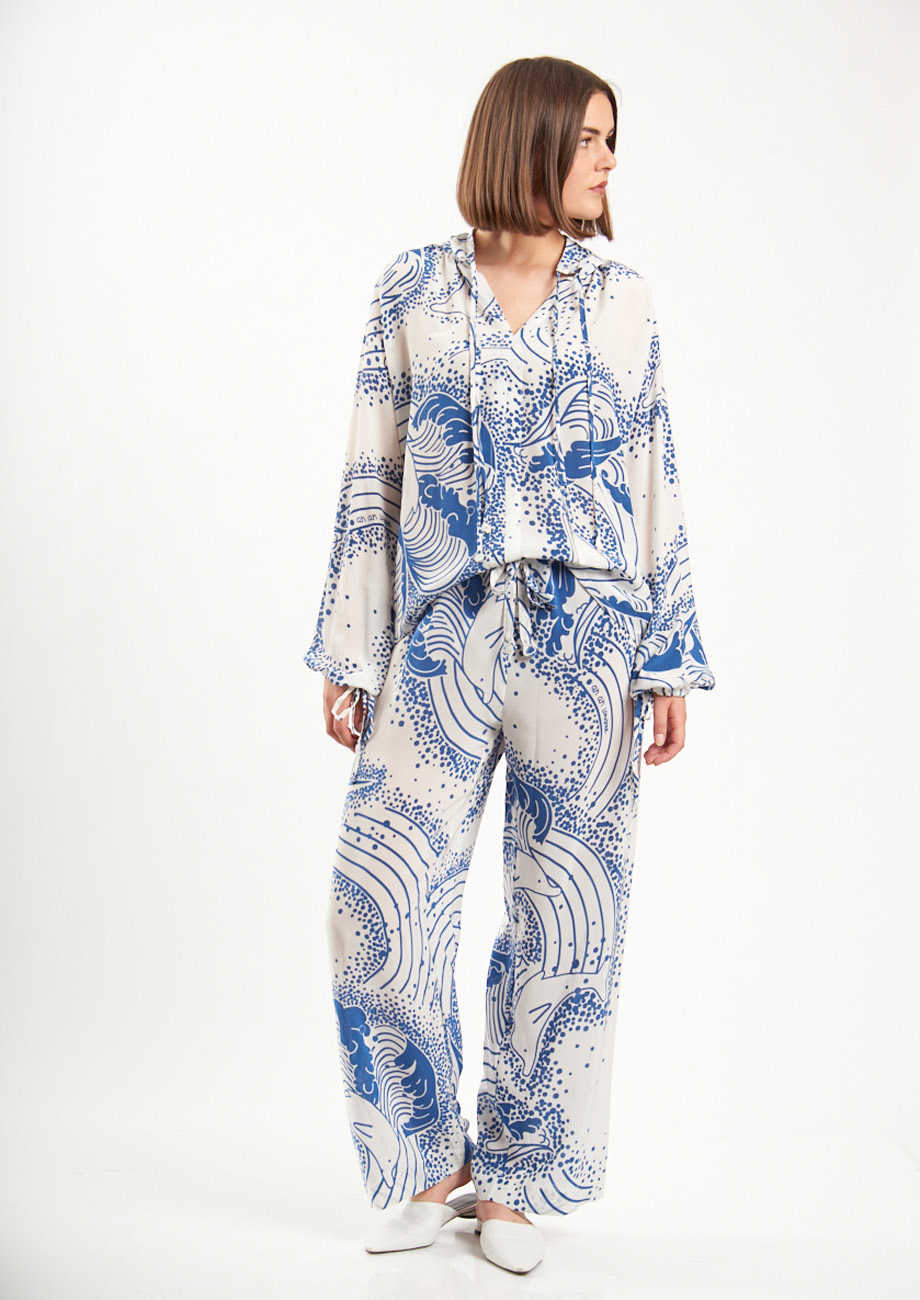 SPA SILK PANTS - WHITE/BLUE-2