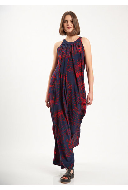 SILK OVERALL - NAVY/RED