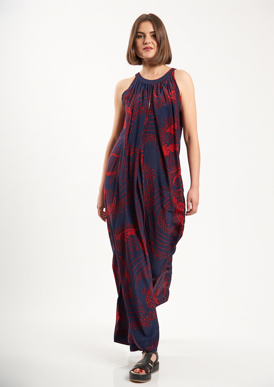 SILK OVERALL - NAVY/RED-1