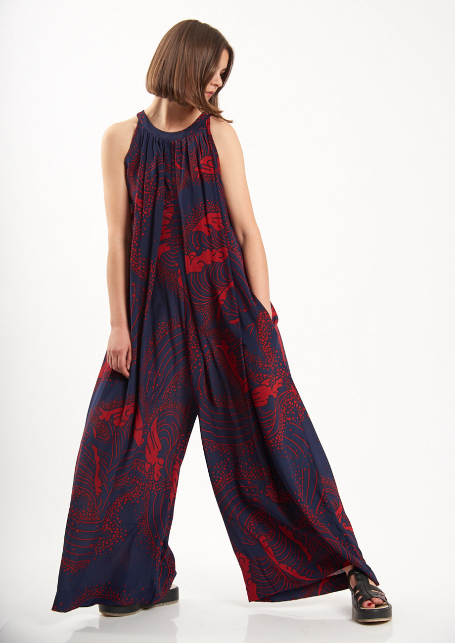 SILK OVERALL - NAVY/RED-2