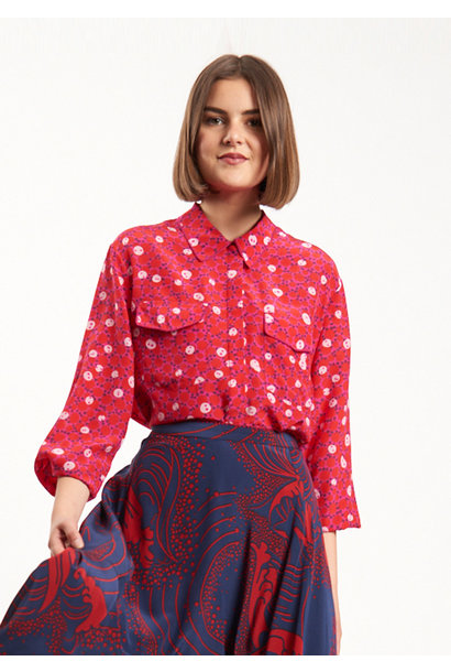 BASIC SILK BLOUSE - RED