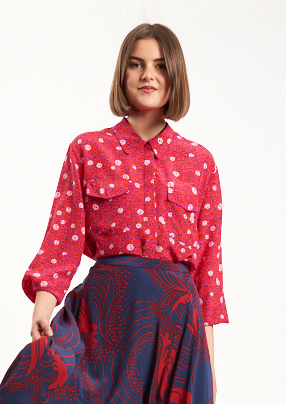 BASIC SILK BLOUSE - RED-1